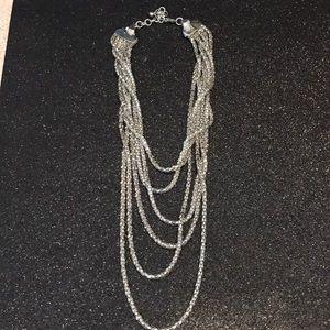 Silver drape hang necklace